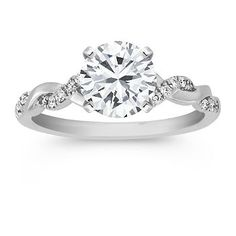 Swirl Diamond 14k White Gold Engagement Ring with 18 Round Diamonds.  My favorite... Hint, hint