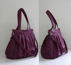 Purple Purse Messenger Tote Bag / Diaper Bag / Work or School Shoulder Bag / in Water-Resistant Crinkle Nylon /  2 Exterior Zipper Pockets. $37.00, via Etsy.