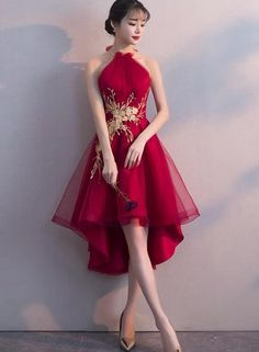 Wine Red Halter High Low Stylish Homecoming Dresses, Red Formal Dress, Pretty Party Dress - Wine Halter High Low , Red You are in the right place - Elegant Dresses, Pretty Dresses, Sexy Dresses, Beautiful Dresses, Dress Outfits, Evening Dresses, Short Dresses, Fashion Dresses, Formal Dresses