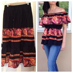 I can't get enough of the boho chic trend. When I spied this folk-inspired peasant skirt at the thrift store, I threw it in the cart before anyone Thrift Store Refashion, Shirt Refashion, Clothes Refashion, Cold Shoulder Shirt, Shoulder Shirts, Umgestaltete Shirts, Band Shirts, Robe Diy, Peasant Skirt