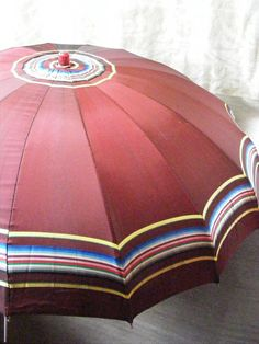 Vintage Umbrella BURGUNDY STRIPE Pink Lucite Handle 1930s 1940s.