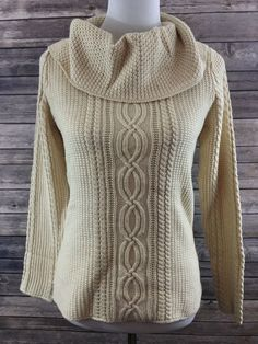 Jeanne Pierre Women's Beige Cowl Neck Cable Knit Sweater Size Small NEW…