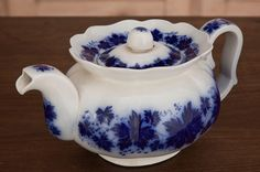 Antique Flow Blue Teapot | Antique China/Ceramics | Inessa Stewart's Antiques~ A collecter myself of flow blue.  This is a great piece