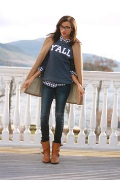 sweater and button down
