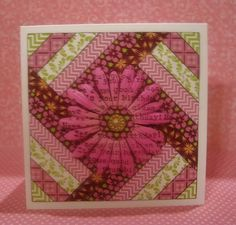 handmade quilt card ... GinaK Designs  ... square format ... herringbone strips ... flower with stamped type on petals ... lovely ...