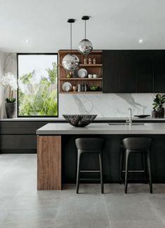 Modern kitchen design - The 39 Best Black Kitchens Kitchen Trends You Need To See – Modern kitchen design Luxury Kitchen Design, Interior Design Kitchen, Home Design, Design Design, Wall Design, Modern Design, Design Color, Shelving Design, Kitchen Room Design