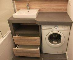 Un lave linge dans une petite salle de bain - Atlantic Bain - Karla pins Small Laundry Rooms, Laundry Room Design, Bathroom Design Small, Laundry In Bathroom, Bathroom Storage, Bathroom Interior, Modern Bathroom, Boho Bathroom, Small Bathrooms