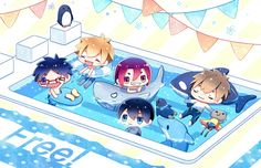 Free! ES ~~ Totem animals and chibi swimmers by「かんなみ」