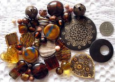 Buy it now on Etsy! Brown Beads Over 40 Pcs Bead Mix Assorted Glass by MixedBeadBags