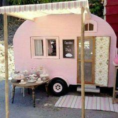Miniature camper by Kim Saulter Tiny home house on wheels, pink travel trailer, glam glamour camping glamping, homemade awining, perfect little guest house. Vintage Campers, Camping Vintage, Retro Campers, Vintage Caravans, Vintage Travel Trailers, Vintage Rv, Retro Caravan, Mini Caravan, Vintage Pink