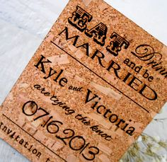Save the Date Cards - Rustic Cork Vineyard Wedding Invites - Custom Laser Engraved Cards - All Natural Eco Friendly - Set of 25