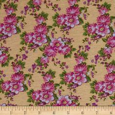 Designer Stretch Jersey Floral Pink/Tan $5.98/yard