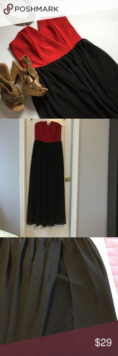 NEW LISTING Francesca's strapless maxi dress❤️❤️❤️ NEW LISTING Francesca's strapless maxi dress. The dress tag says Miami but bought at Francesca's. Slit up to top of black sheer fabric but does have under skirt as shown. Dress has elasticize back with zipper. EUC. Francesca's Collections Dresses Strapless