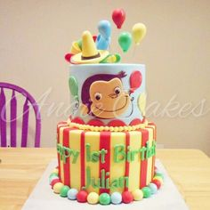 Curious George first birthday custom cake 3rd Birthday Cakes, Sons Birthday, 3rd Birthday Parties, Baby Birthday, Birthday Ideas, Curious George Cakes, Curious George Party, Curious George Birthday, Party Cakes