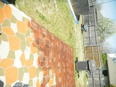 Stamped Concrete Patio painted each one then stained over it to give pave stone effect