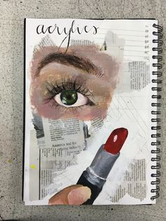 Gcse art sketchbook art page on acrylics - Livvy Coombs
