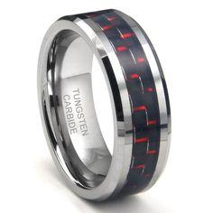 RED & BLACK Carbon Fiber Inlay 8MM Men's Tungsten Carbide Ring Sz 7.0