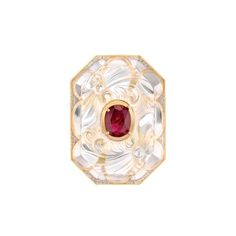 Chanel Café Society Vendome San Marco ring in white and yellow gold, with a Burmese ruby and brilliant-cut diamonds set into rock crystal.