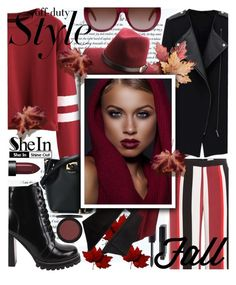 """""""Burgundy Varsity Crop T-shirt - with SHEIN"""" by anin-kutak ❤ liked on Polyvore featuring Chanel, Zeus+Dione, Jeffrey Campbell, Lafayette 148 New York, Michael Kors, Yves Saint Laurent and NARS Cosmetics"""