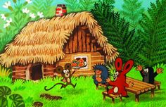 (2014-07) Muldvarpen sidder ved bordet med haren og pindsvinet, musen kommer med småkager