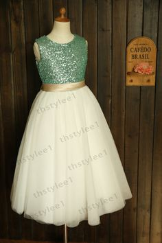Mint+Blue+Sequin+Ivory+Tulle+Flower+Girl+Dress+with+by+thstylee1,+$56.99