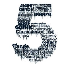 The number 5 is constructed out of the names of different typefaces. Strict attention was paid to point size, weight, kerning, tracking and leading. Time consuming, but so worth it!