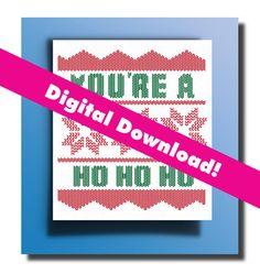 Ugly Christmas Sweater Christmas Card Printable! DIGITAL DOWNLOAD