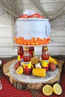Crawfish bridal shower party cake! See more party ideas at CatchMyParty.com!