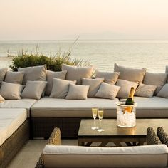 Sani Beach Club, Halkidiki. Comfortable entertainment space is a must. Needs to be protected from the elements - both sun and rain - for optimum enjoyment.