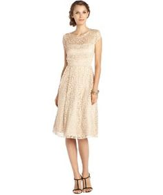 A.B.S. by Allen Schwartzchampagne stretch lace embroidered accent cap sleeve fit and flare dress