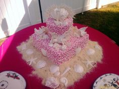 #pink beach wedding cake ... Wedding ideas for brides & grooms, bridesmaids & groomsmen, parents & planners ... itunes.apple.com/... The Gold Wedding Planner iPhone App ♥