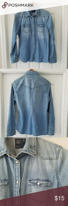 American Eagle denim shirt Great snap front classic western style denim shirt.  Could be used as a lightweight jacket as well. EUC. American Eagle Outfitters Jackets & Coats Jean Jackets