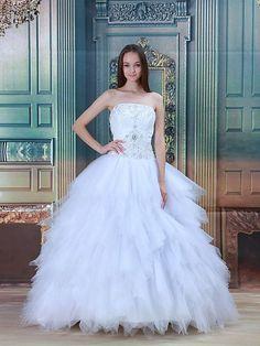 Rennie - palloncino senza spalline abito da sposa in tulle con perline