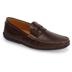 Men's Austen Heller 'Waverly' Leather Penny Loafer ($195) ❤ liked on Polyvore featuring men's fashion, men's shoes, men's loafers, brown, mens brown shoes, mens crocodile loafers, mens penny loafer shoes, mens crocodile shoes and mens brown loafer shoes
