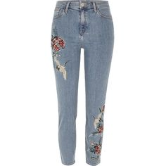 River Island Blue wash embroidered Lori high waisted jeans ($100) ❤ liked on Polyvore featuring jeans, bottoms, pant, trousers, blue, skinny jeans, women, super skinny jeans, denim skinny jeans and denim jeans