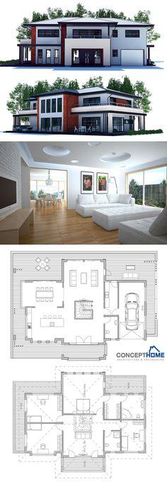Architecture, Home Plans, Modern Design New House Plans, Dream House Plans, Modern House Plans, Small House Plans, Modern House Design, House Floor Plans, Casas Containers, Villa Plan, House Blueprints