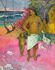 Tahitian Paintings - A Walk by the Sea by Paul Gauguin