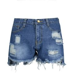 Ripped High Waisted Denim Shorts (51 BRL) ❤ liked on Polyvore featuring shorts, high-rise shorts, jean shorts, high waisted ripped shorts, high-waisted shorts and high rise jean shorts