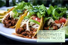 Bison meat is naturally flavorful and tender. It has a lot more flavor than beef that makes for a great taco with pico de gallo salsa! Bison Meat, Meat Recipes, Paleo Recipes, Mexican Food Recipes, Cooking Recipes, Mexican Meals, Paleo Food, Mexican Dishes, Clean Eating Snacks