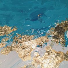 Turquoise Abstract with Gold Leaf Foil