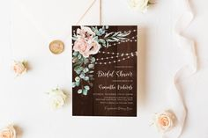 Blush Floral and String Lights Bridal Shower Invitation, Boho Chic Wedding Shower Invite, Pink Flowers, Wood, Corjl Editable Template 208 Wedding Suite, Chic Wedding, Elegant Wedding, Wedding Shower Decorations, Wedding Shower Invitations, Reception Signs, Wedding Welcome, Shower Party, As You Like