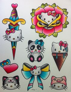 Hello Kitty Flash Sheet by Alex Strangler von AlexStrangler auf Etsy and like OMG! get some yourself some pawtastic adorable cat apparel! Hallo Kitty, Hello Kitty Bow, Hello Kitty Tattoos, Hello Kitty Birthday, Hello Kitty Drawing, Girly Tattoos, Love Tattoos, Body Art Tattoos, Tatoos