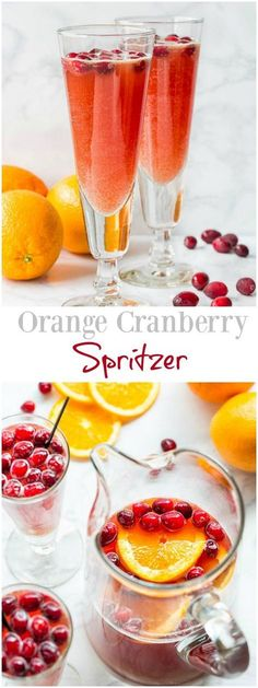 Orange Cranberry Spritzer - easy non-alcoholic punch for holidays. #mocktail #nonalcoholicdrink #partydrink #holidaypunch #spritzer via @shineshka