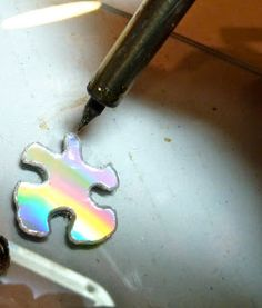 Make it easy crafts: Recycled CD and/or Duct Tape Puzzle Earrings