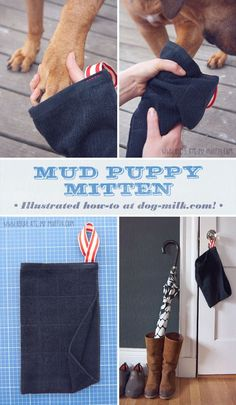 Just in time for spring: a DIY idea for dirty dog paws! Illustrated by Natalya Zahn for dog-milk.com