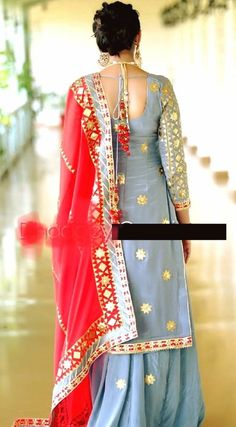 With my red dupatta Punjabi Suits Party Wear, Punjabi Salwar Suits, Punjabi Dress, Indian Suits Punjabi, Punjabi Suits Designer Boutique, Indian Designer Suits, Indian Attire, Indian Wear, Long Kurti With Skirt