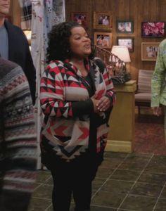 Shirley's red striped patterned knit cardigan on Community Yvette Nicole Brown, Fashion Tv, Black Stripes, Knit Cardigan, Poplin, Red Black, Plus Size Fashion, Christmas Sweaters, Aqua