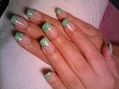 green glitter french manicure