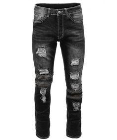 Mens Hipster Distressed Slim Fit Stretch Jeans W/Zipper Accents Denim Pants - - - Men's style, accessories, mens fashion trends 2020 Denim Jacket Men, Denim Pants, Men's Jeans, Men Shorts, Men's Denim, Denim Jackets, Khaki Pants, Black Jeans Men, American Eagle Men