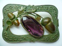 Art Nouveau Amythest Glass Brooch